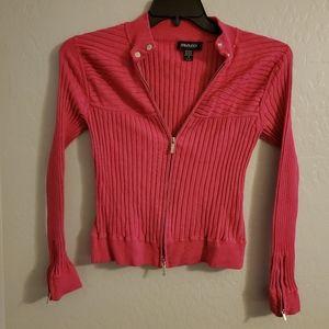 Ideology pink zipper front cardigan